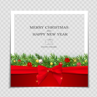 Merry christmas and happy new year photo frame template