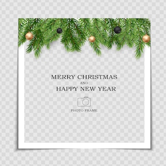 Merry christmas and happy new year photo frame template.