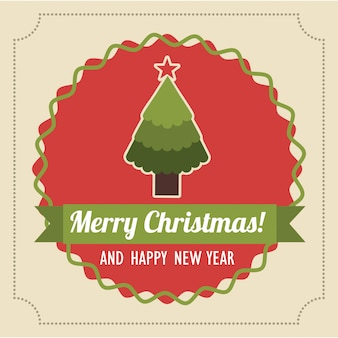 Merry christmas and happy new year  over pink background  vector illustration