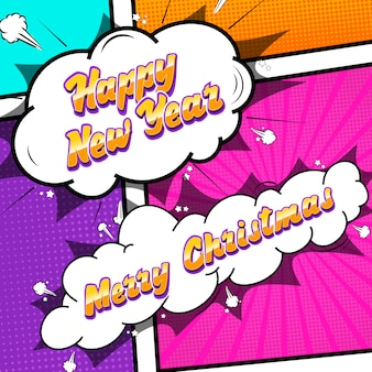 Merry christmas and happy new year pop art