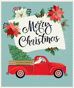 Merry christmas and happy new year postcard with retro pickup truck with christmas tree.