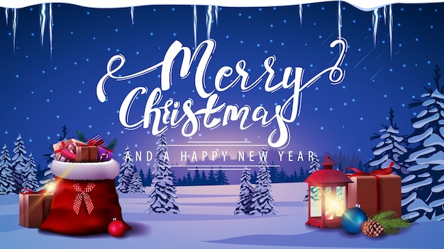 Merry christmas and happy new year, postcard with santa's gift bag, vintage lantern, icicles and winter landscape