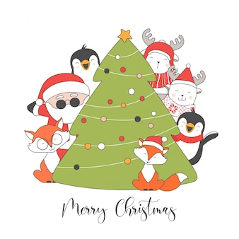 Merry christmas and happy new year postcard.