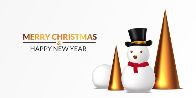 Merry christmas and happy new year poster banner template. snowman illustration with snowball and 3d golden cone with white background. luxury elegant