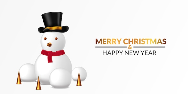 Merry christmas and happy new year poster banner template. snowman illustration with snowball and 3d golden cone with white background.