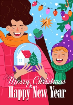 Merry christmas and happy new year poster cheerful mom and daughter or son hold snow globe with