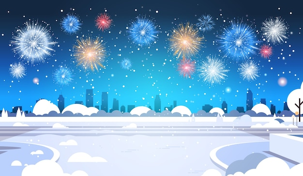 Merry christmas happy new year poster colorful fireworks salute winter cityscape greeting card flat horizontal vector illustration