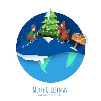 陽気な子供たちが飾ったクリスマスツリーとメリークリスマス&新年あけましておめでとうございますポスターデザイン