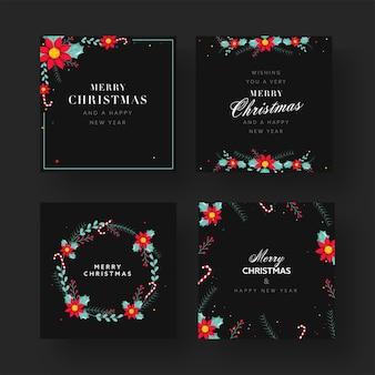 메리 크리스마스 & 해피 뉴 포스터 또는 4 가지 옵션의 템플릿 디자인.