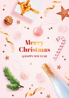 Merry christmas and happy new year poster template