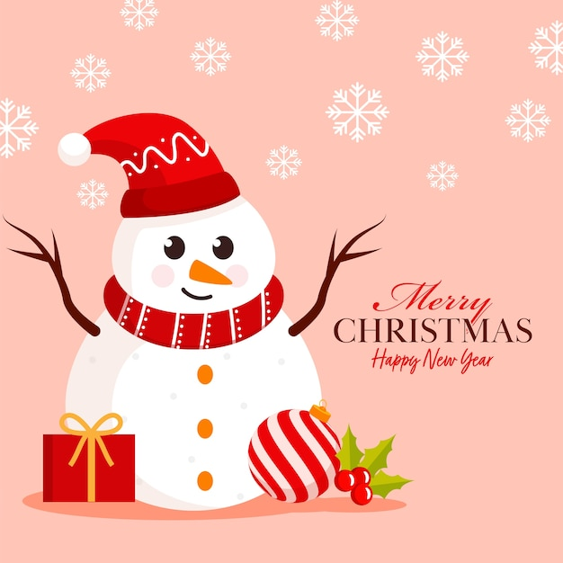 Плакат с рождеством и новым годом с мультяшным снеговиком в шляпе санта-клауса, подарочной коробке, холли берри, безделушке и снежинках, украшенных на пастельном персиковом фоне.