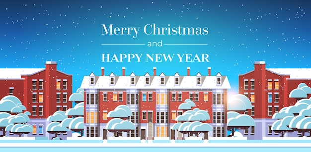 Merry christmas happy new year poster with winter city houses snowy town street greeting card flat horizontal vector illustration