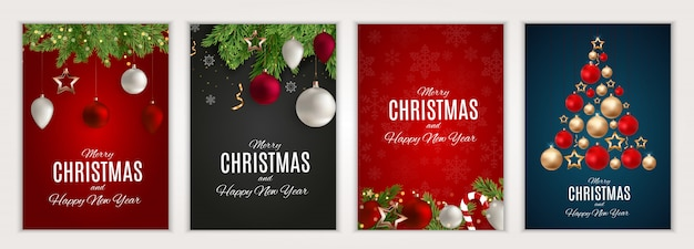 Merry christmas and happy new year posters set.  illustration