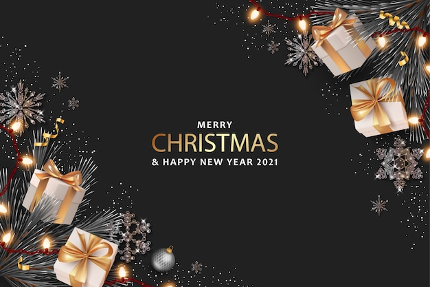 Merry christmas and happy new year realistic banner with gift boxes