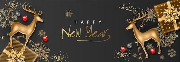 Merry christmas and happy new year realistic banner with golden deer statuette