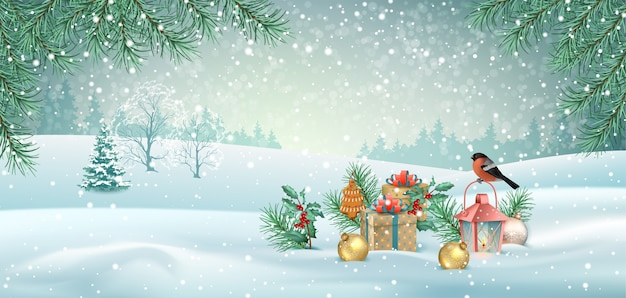 Merry christmas and happy new year realistic winter landscape with a bird and christmas decorations