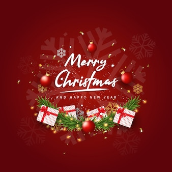 Merry christmas and happy new year on red background. christmas background with typography and elements.