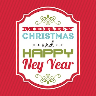 Merry christmas and happy new year  over  red background  vector illustration