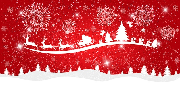 Merry christmas and happy new year on red background with snowy landscape and santa claus