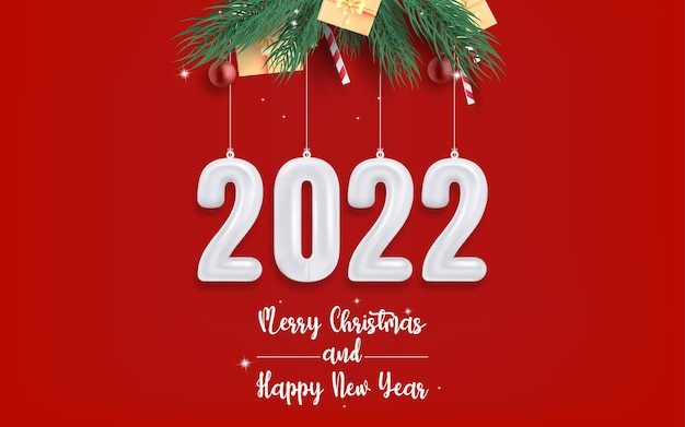 Merry christmas and happy new year on red background