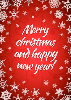 Merry christmas and happy new year, red background