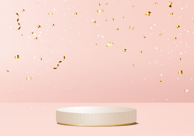 Merry christmas  and happy new year rendered scene  with valentine podium platform. christmas ribbon on pink background  render gold podium. happy new year stand to show product christmas