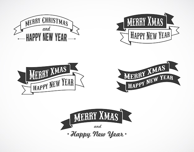 Merry christmas and happy new year ribbons.  background for banner, poster or greeting card