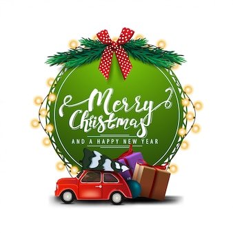 Merry christmas and happy new year, round green greeting card with beautiful lettering