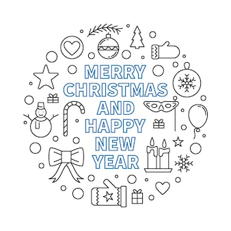 Merry christmas and happy new year round outline illustration