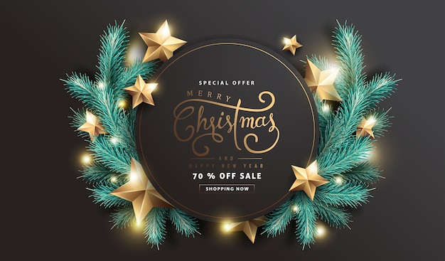 Merry christmas and happy new year sale background