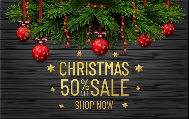Merry christmas and happy new year sale banner. christmas tree border with golden decorations on black wood