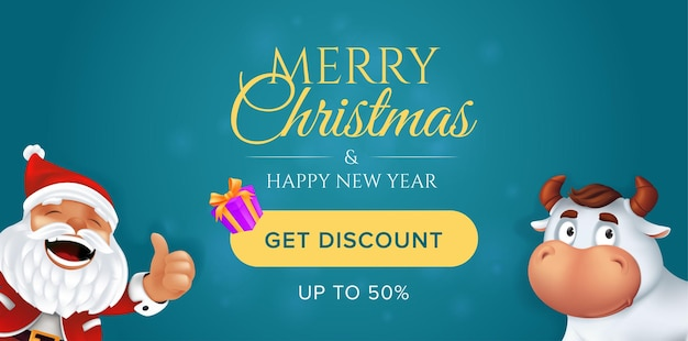 Merry christmas and happy new year sale banner template.
