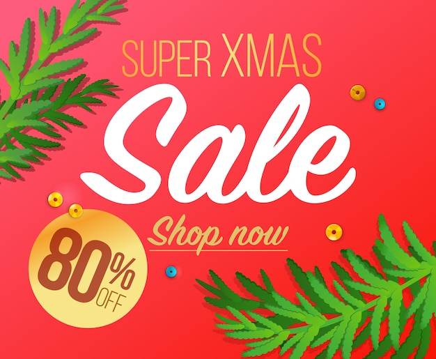 Merry christmas and happy new year sale banner.