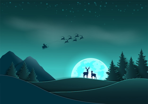 Merry christmas and happy new year,  santa claus coming on night scene