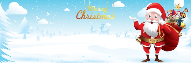 Merry christmas and happy new year.santa claus is waving with a sack of gifts in christmas