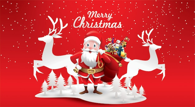 Merry christmas and happy new year.santa claus's reindeer with a sack