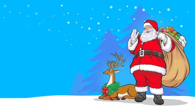 Merry christmas happy new year santa claus standing carry gift bag and deer pop art comics style