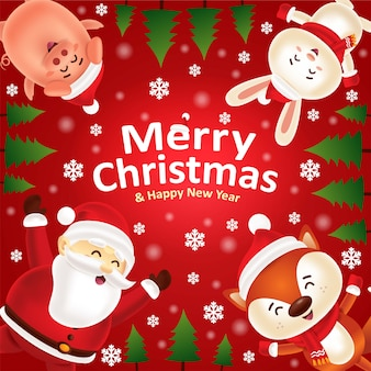Merry christmas & happy new year! santa and cute animals in christmas snow scene