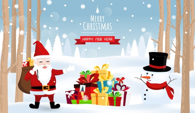 Merry christmas and happy new year,santa snow man gift boxes