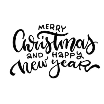Merry christmas and happy new year   script hand lettering text overlay design template celebration ...