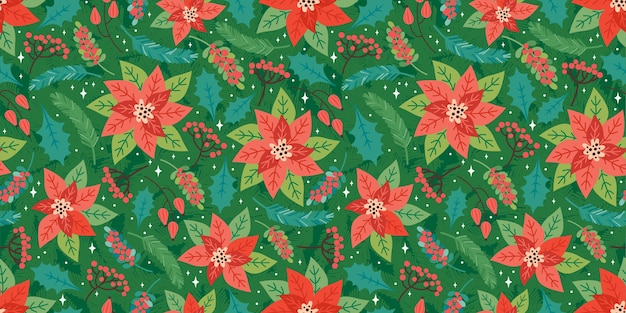 Merry christmas and happy new year seamless pattern. festive background with christmas floral elements, poinsettia, holly leaves, red berries, fir branches. trendy retro style.