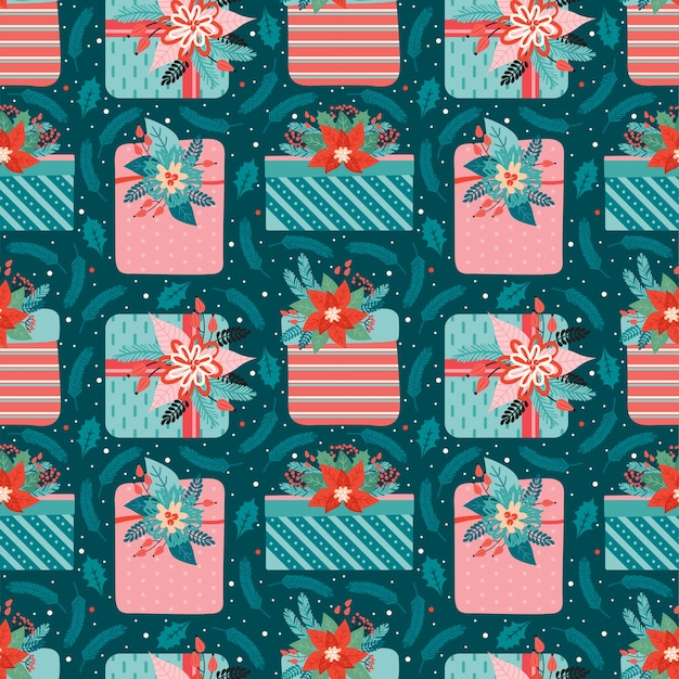 Merry christmas and happy new year seamless pattern. festive background with gifts ornate decorated floral elements, coniferous branches, red berry, holly leaves.