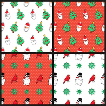 Merry christmas and happy new year seamless pattern set with christmas tree snowman birds and santa claus. winter holidays wrapping paper.  background