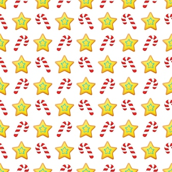 Merry christmas and happy new year seamless pattern with christmas cookies and candies. winter holidays wrapping paper.  background