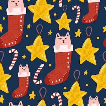 Merry christmas and happy new year seamless pattern with cute elements