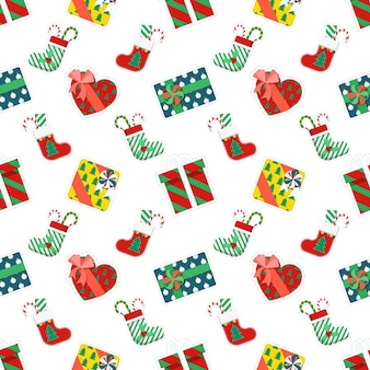 Merry christmas and happy new year seamless pattern with gifts. winter holidays wrapping paper.  background