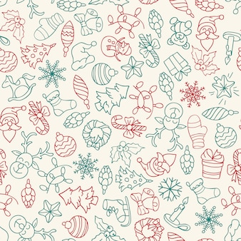 Merry christmas and happy new year seamless pattern with icons.