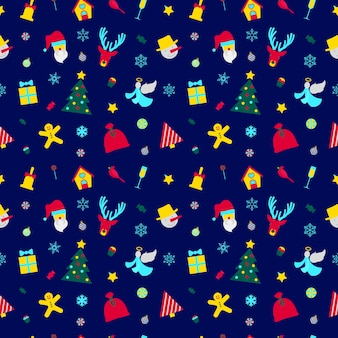 Merry christmas and happy new year seamless pattern with santa and christmas elements. winter holidays wrapping paper.  background