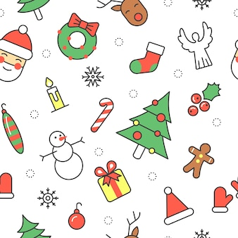 Merry christmas and happy new year seamless pattern with santa snowman and christmas tree. winter holidays wrapping paper.  background