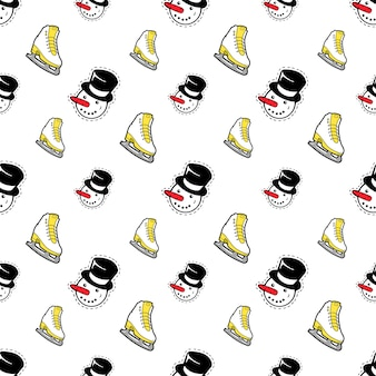 Merry christmas and happy new year seamless pattern with snowman and skates. winter holidays wrapping paper.  background